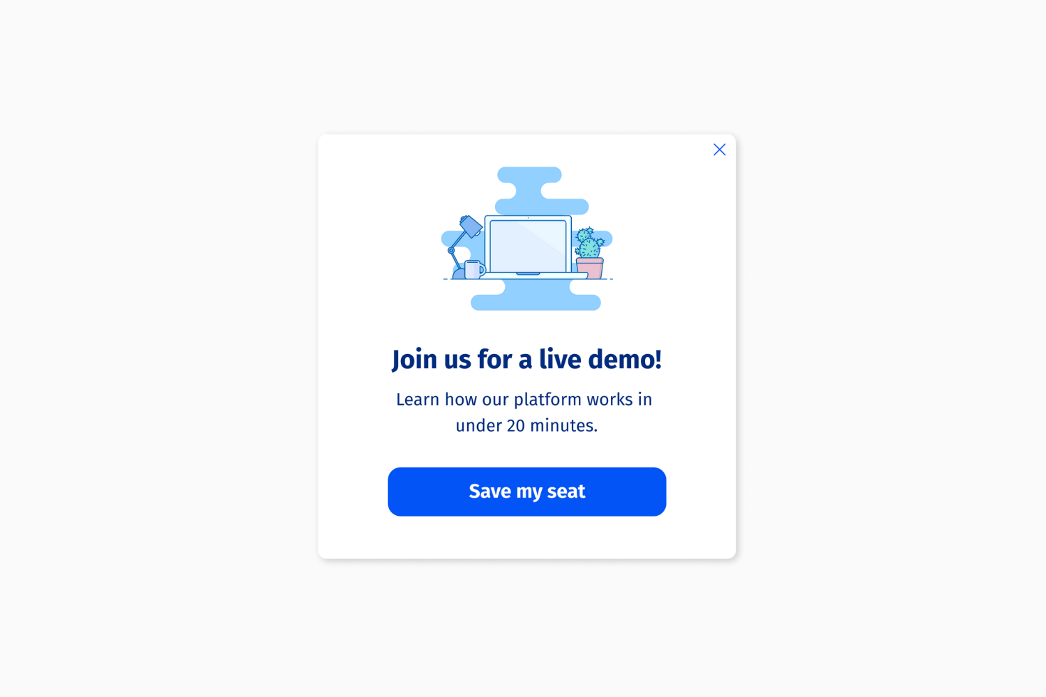Helppier Product Demo and Webinars Templates - Join us for a live demo (Popup message)